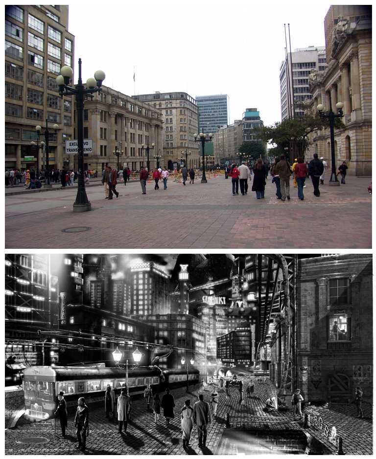 This is a comparison between the real life city and our black and white stylized version.
