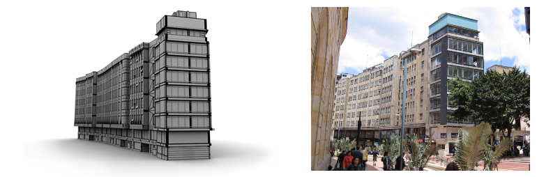 Our 3D version of the Camacho Building next to the real one.