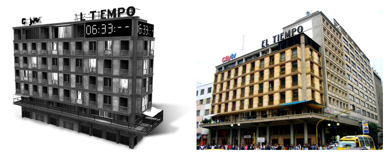 Real life and 3D version of the headquarters of the Newspaper